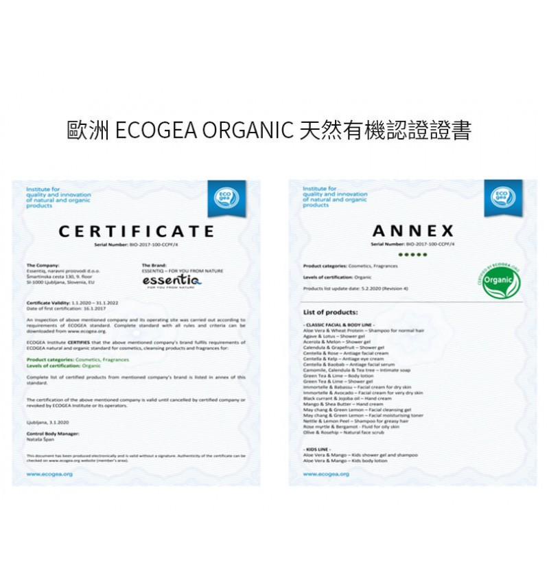 Natural Organic Kid Shower gel and shampoo 2 in 1 - Aoe Vera & Berries (250 ml)